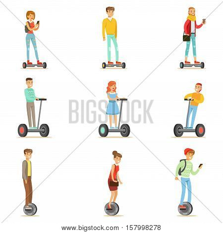 People Riding Electric Self-Balancing Batery Poweres Personal Electric Scooters Whith One Or Two Wheels, Set Of Cartooon Characters. Happy Man And Women Using Modern Technology Gyro Vehicles Vector Illustrations.