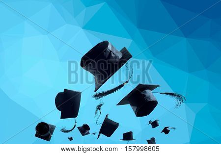 Graduation Ceremony, Graduation Caps, Hat Thrown In The Air With Modern Blue Abstract Background.