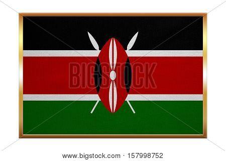 Kenyan national official flag. African patriotic symbol banner element background. Correct colors. Flag of Kenya golden frame fabric texture illustration. Accurate size color