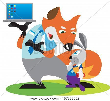Fox is the seller of the manager, which sells laptop buyer hare