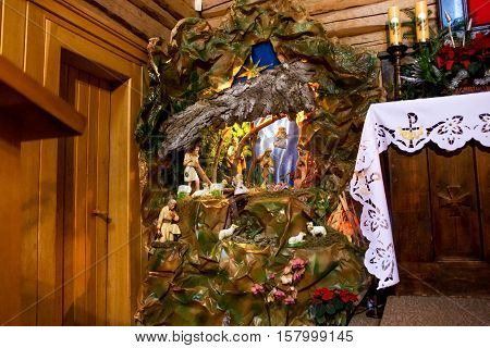 POLAND KALATOWKI - JANUARY 04 2015: Nativity scene in chapel of the monastery of the Congregation of Albertine Sisters in the High Tatras mountains. Congregation founded by St. Albert Chmielewski.