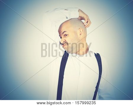 Bald Man, Smelling Sniffing His Armpit, Something Stinks Bad
