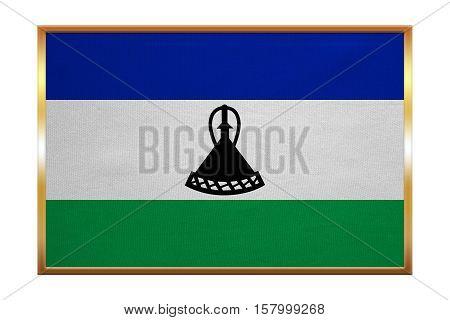 Lesotho national official flag. Basotho african patriotic symbol banner element background. Correct colors. Flag of Lesotho golden frame fabric texture illustration. Accurate size color