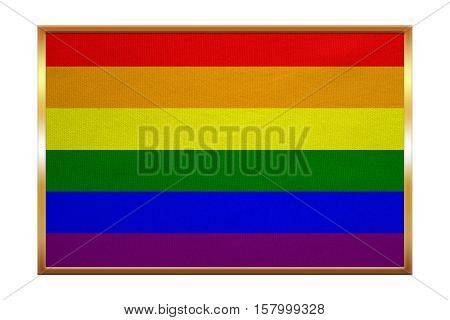 Rainbow gay pride flag. Symbol of LGBT movement. Gay banner element background. Correct colors. Rainbow flag golden frame fabric texture illustration. Accurate size color