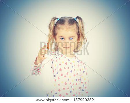 Little Girl Holding A Watering Spray Bottle