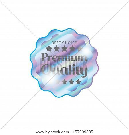 Holographic design illustration round wave shape sticker premium quality