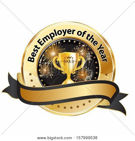 Best Employer of the year - business shiny ribbon award / decoration for companies.