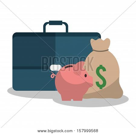 Suitcase bag and piggy icon. Profit money commerce and economy theme. Isolated design. Vector illustration