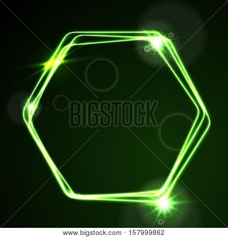 Glow green neon bright hexagon shiny background. Energy effect logo vector template design