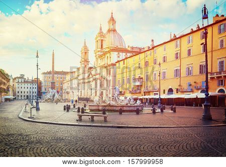 panoramic view of Piazza Navona in Rome with sunshine, Italy