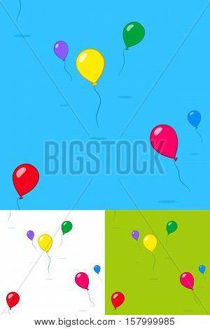 Colorful kids party balloons floating in the sky in three different color variations with copy space for your text square format seamless pattern vector illustration