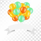 White ribbon with balloons on transparent background. Vector illustration for signs, cards and so on. Clipart for holydays. Place to company name. poster