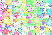 Cute Cartoon Art Flowers Simple Color Background poster