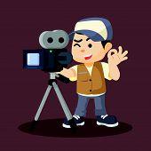 a boy movie cameraman recording vector illustration design eps 10 poster