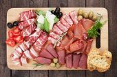 Charcuterie board with prosciutto, capicola and other italian deli cured meat poster