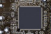 The processor on the motherboard macro sfoto gray unprinted poster