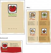 Template designs of menu and business card for coffee shop and Italian restaurant, vector file include poster