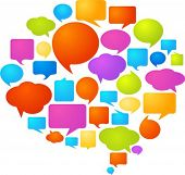 Collection of colorful speech bubbles and dialog balloons poster