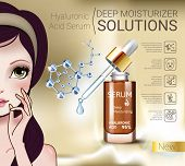 Hyaluronic Acid Moisturizing Serum ads. Vector Illustration with Manga style girl and Collagen Serum container. poster