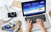 Hotel Deal Accommodation Lodge Motel Inn Concept poster
