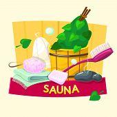 Sauna concept design, steam room vector illustration poster