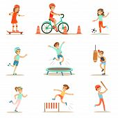 Kids Practicing Different Sports And Physical Activities In Physical Education Class Gym And Outdoors. Children Playing Football, Baseball, Riding Bicycle And Boxing. Sportive Teenagers Happy To Do Sportive Training Set Of Cartoon Vector Illustrations. poster