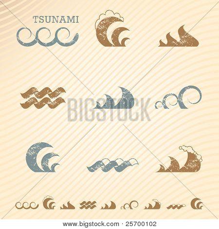 Satz von Grunge Welle Symbole für design