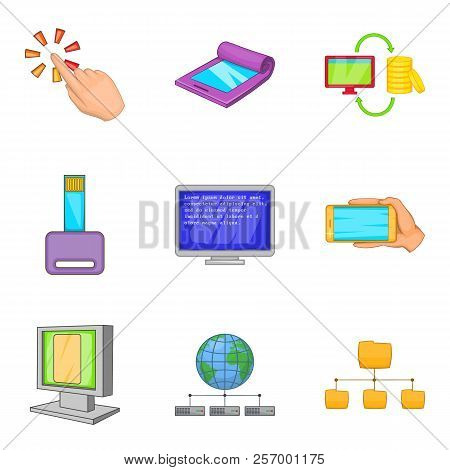 Portable Instrument Icons Set. Cartoon Set Of 9 Portable Instrument Icons For Web Isolated On White