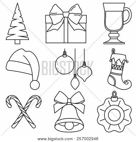 black and white line art 9 christmas elements new year holiday decorations xmas themed vector illustration for icon logo sticker patch label sign