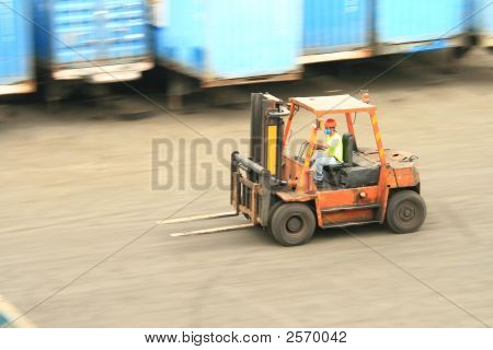 Forklift In Motion