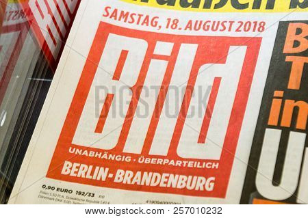 Berlin, Germany - August 18, 2018: Logo And Sign Of Bild Tabloid Published By Axel Springer Ag.