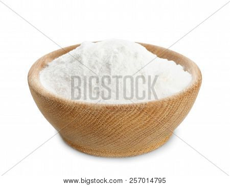 Wooden Bowl With Baking Soda On White Background