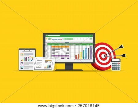 Spreadsheet Accounting Computer. Virtual Business Finance. Investment Management Data On Screen. Mar