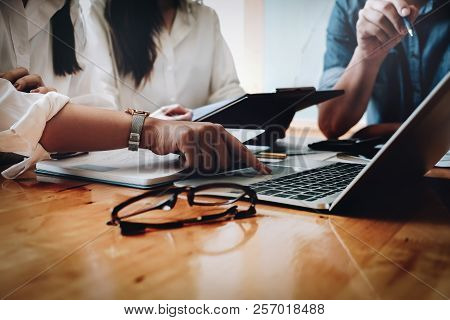 Business Financial, Business Accountant Using Computer Laptop And Discussing With Partner Are Meetin
