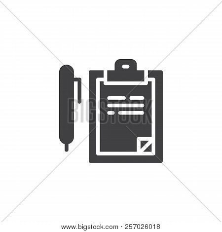Writing Pad And Pen Vector Icon. Filled Flat Sign For Mobile Concept And Web Design. Consent Solid I