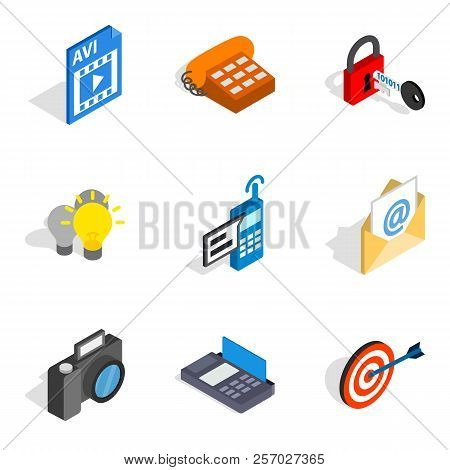 Mobile Progress Icons Set. Isometric Set Of 9 Mobile Progress Icons For Web Isolated On White Backgr
