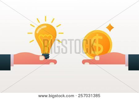 Buy And Sell Idea. Business Transaction Light Bulb And Money Hold In Hand. Investment Concept. Cost