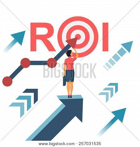 Roi Concept. Return On Investment. Roi Business Marketing. Profit Income. Businesswoman Managing Fin