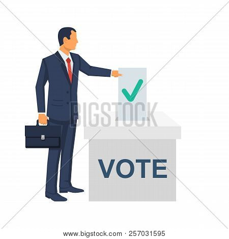 Voting Concept. Vector Illustration Flat Design Style. Man Hold In Hand Bulletin, Puts In Ballot Box