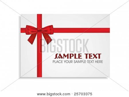 Red Bow Around the White Gift Card