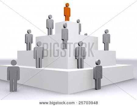 Social hierarchy. Concept 3D illustration.