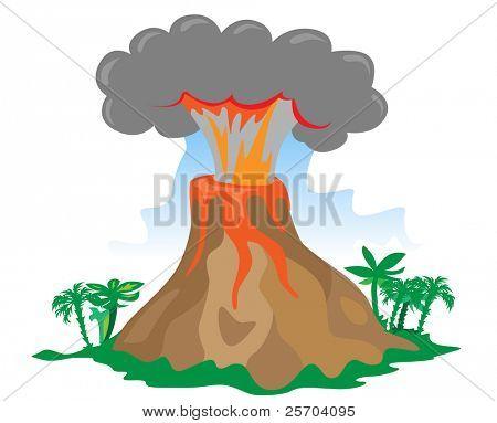 Exploding volcano on white background