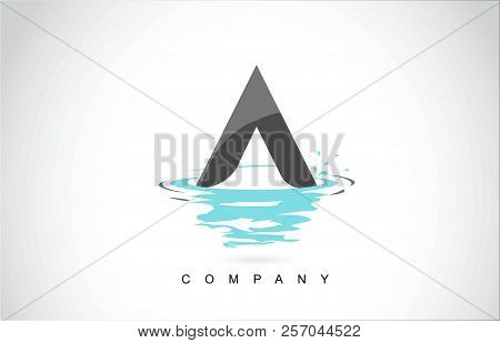 A Letter Logo Design With Water Splash Ripples Drops Reflection Vector Icon Illustration.