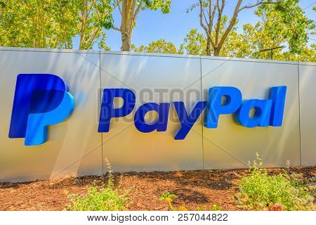 San Jose, California, United States - August 12, 2018: Paypal Sign At Paypal Headquarters. Paypal Is