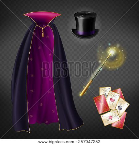Vector Realistic Set With Illusionist Equipment For Tricks Isolated On Transparent Background. Magic