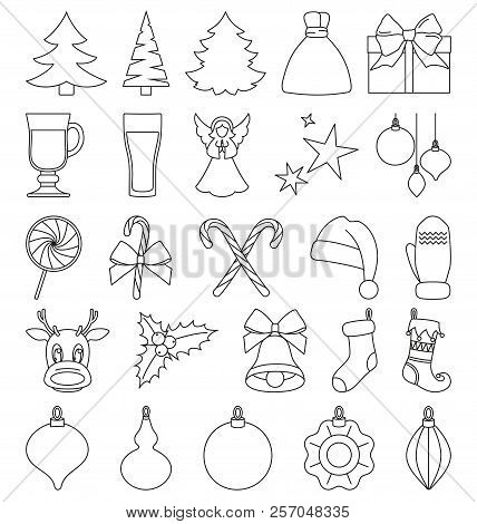 line art black and white 25 christmas elements new year holiday decorations xmas themed vector illustration for icon logo sticker patch label sign