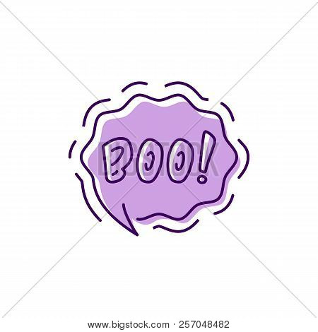 Halloween Message Boo Haloween Bubble, Moans And Groans, Whispers Ghost. Thin Line Art Design, Vecto