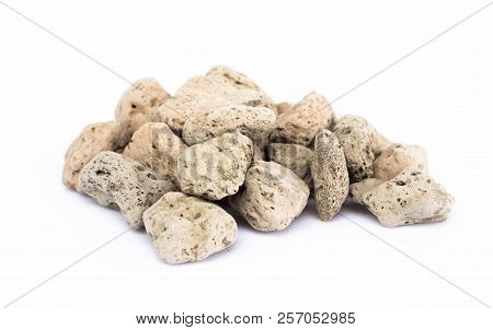 Pumice Stone Or Volcanic Rocks On White Background For Cactus Plant