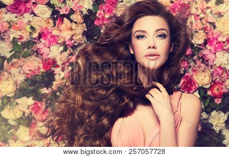 Brunette  Girl With Long  And   Shiny Wavy Hair .  Beautiful  Mode Woman With Curly Hairstyle ,   Ba