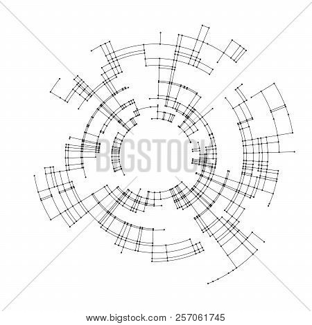 Connecting Lines And Dots On White Background. Abstract Network Connection Design Concept. Technolog